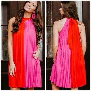 Red/Hot Pink Pleated Dress